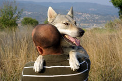 Man with his dog. Man and his dog - man's best friend Royalty Free Stock Photos