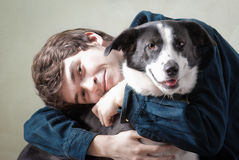 Man and his dog stock photos