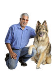 Man and his dog. Portrait of a man and his dog isolated on white Stock Images