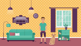 Man and his dog on background interior with sofa, window and picture of car flat  illustration. Man and his dog on background interior with sofa Royalty Free Stock Images