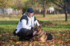 Man And His Dog German Shepherd Stock Photography