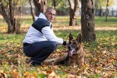 Man And His Dog German Shepherd Stock Image