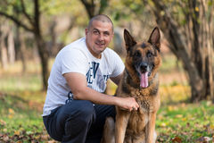 Man And His Dog German Shepherd Royalty Free Stock Images