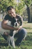 Man and his dog stock photos