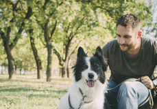 Man with his dog Royalty Free Stock Images