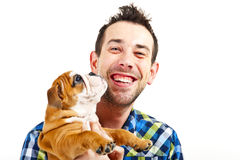 Man with his dog on white background Royalty Free Stock Photography