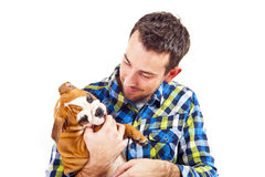 Man with his dog on white background Royalty Free Stock Images