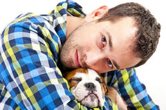 Man with his dog on white background Royalty Free Stock Photo