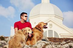 Man with his dogs Royalty Free Stock Photos