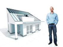 Man and his dream house Royalty Free Stock Images