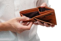 Man with His Empty Wallet on Isolated White Background.  Royalty Free Stock Image