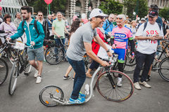 Man with his footbike at Cyclopride 2014 in Milan, Italy Royalty Free Stock Photo