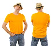 Man in his forties wearing blank orange shirt stock photography