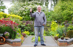 Man in his garden Royalty Free Stock Image