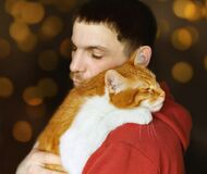 Man and his ginger white cat, love and friendship