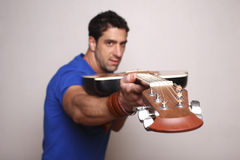 Man with his guitar. Royalty Free Stock Image