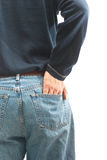 Man with his hand in back pocket stock images