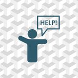 Man with his hands asks for help. Icon stock vector illustration flat design style Stock Images