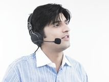 Man with his headphones Stock Images