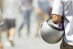 Man with his helmet Stock Photos