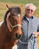 A Man with His Horse. A man in the pasture with his Tennessee Walker horse Royalty Free Stock Photography