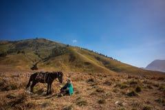A Man and his horse. Savannah, Bromo Tengger Semeru National Park Royalty Free Stock Images