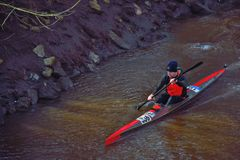 Man with his kayak on a river in Lier Royalty Free Stock Photography