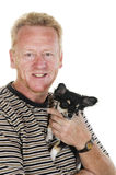 Man with his little dog Royalty Free Stock Images