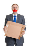 Man with his mouth sealed Stock Images