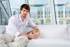 Man and his pet Stock Photo