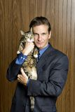 Man and his pet cat Royalty Free Stock Photo
