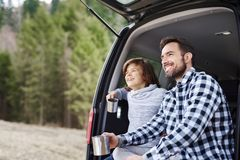 Man and his son enjoying the view during road trip stock image