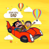 Man with his son for Happy Fathers Day celebration. Happy Fathers Day celebration with illustration of a man and his son in car on yellow background Royalty Free Stock Photography