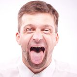 Man with his tongue out Stock Photo