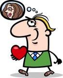 Man with his valentine cartoon illustration Royalty Free Stock Photos