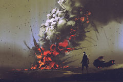 The man with his vehicle looking at bomb explosion on the ground. Sci-fi scene of the man with his vehicle looking at bomb explosion on the ground, illustration stock illustration