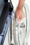 Man in his wheelchair royalty free stock photography