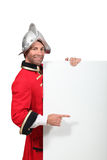Man in an historical soldier's uniform Royalty Free Stock Photo