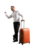 Man hitch hiking over white background Royalty Free Stock Photos