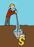Man hits pay dirt. An image of a man hits pay dirt metaphor Royalty Free Stock Images