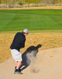 Man hitting out of sand trap Royalty Free Stock Photo