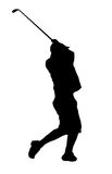 Man hitting a small object. Isolated golfer Royalty Free Stock Photo