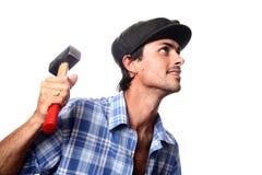 man hjälpmedelworking Fotografering för Bildbyråer