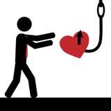 Man, hjärta och krok Arkivfoton