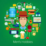 Man Hobby Icons Set with Elements of Mens Life. Vector illustration Stock Photography