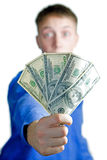 Man hold $500. Surprised man hold � five hundred dollars in a hand. Isolated white Royalty Free Stock Photos