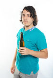 Man hold beer bottle Stock Photos
