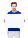 Man hold with blank board Stock Image