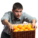 Man hold box with oranges Stock Images