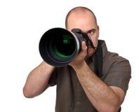 Man hold camera Royalty Free Stock Image